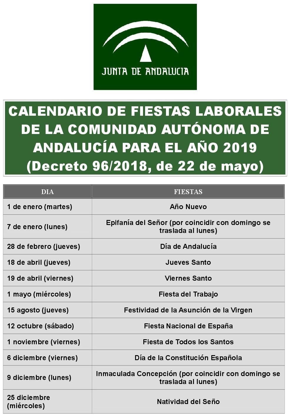 Calendario Laboral 2019 Andalucia.Fiestas Laborales 2019 Palma Del Rio