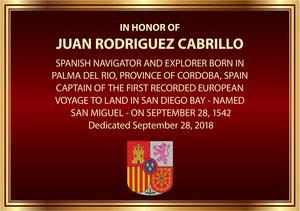 Placa de dedicación a Juan Rodríguez Cabrillo
